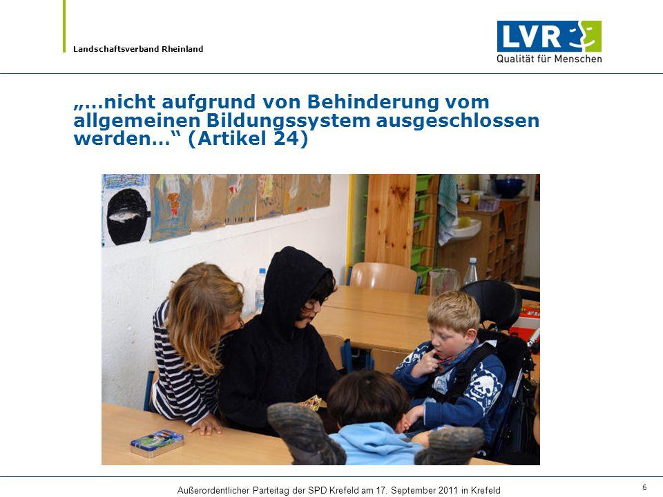 """""""…nicht aufgrund von Behinderung vom allgemeinen Bildungssystem ausgeschlossen werden… (Artikel 24)"""