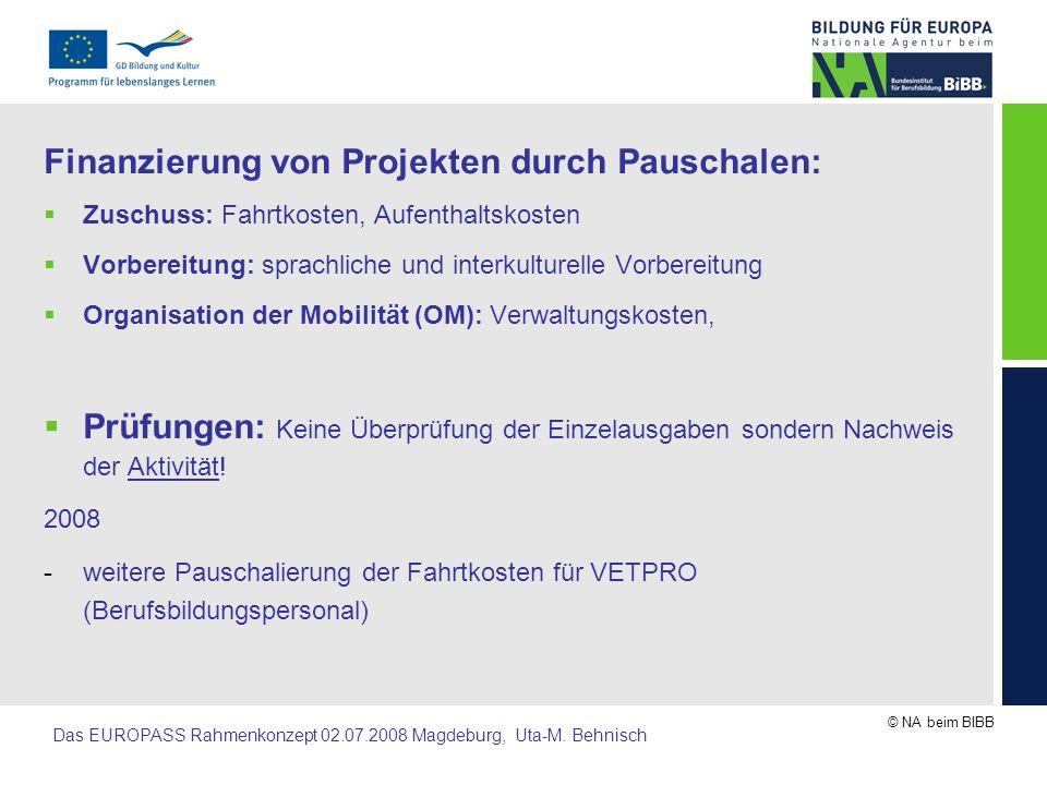 Finanzierung von Projekten durch Pauschalen: