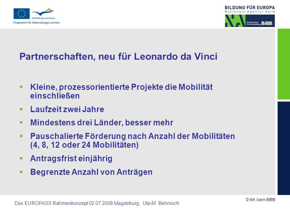 Partnerschaften, neu für Leonardo da Vinci