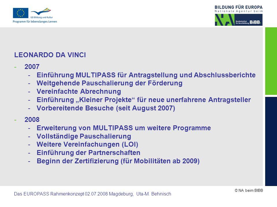 LEONARDO DA VINCI 2007. Einführung MULTIPASS für Antragstellung und Abschlussberichte. Weitgehende Pauschalierung der Förderung.