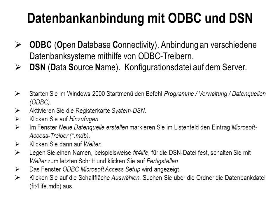 Datenbankanbindung mit ODBC und DSN