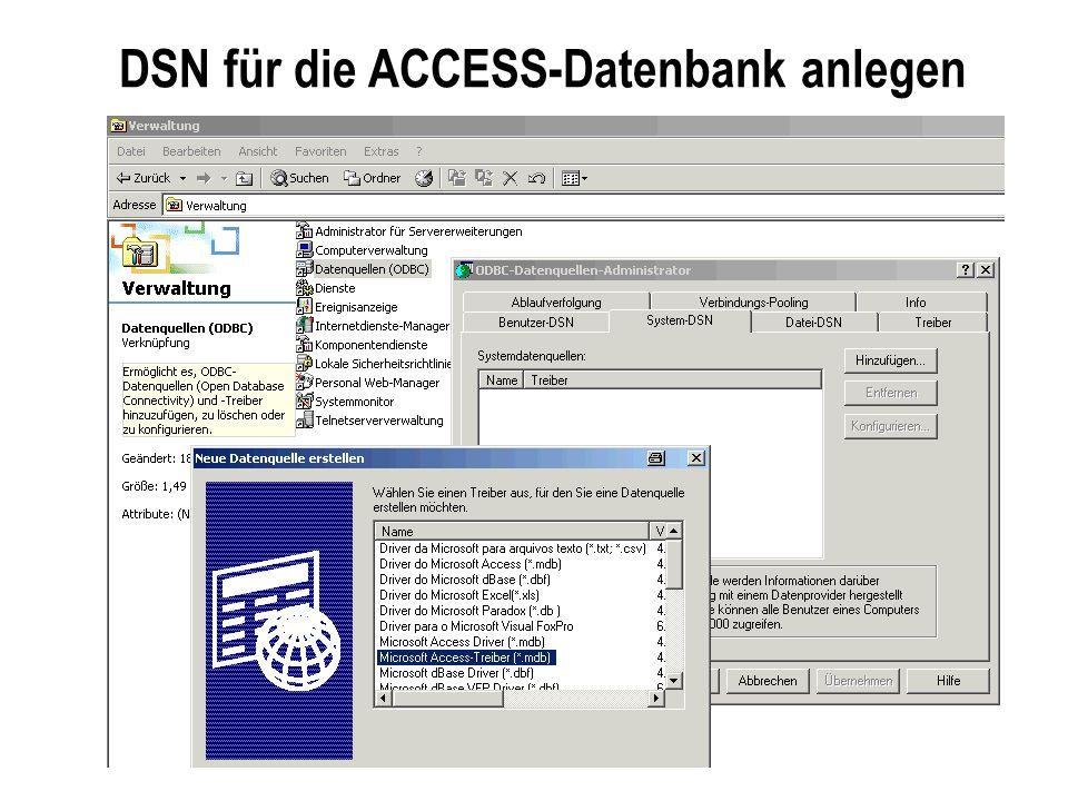DSN für die ACCESS-Datenbank anlegen