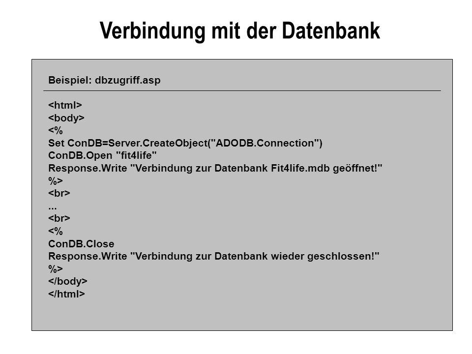 Verbindung mit der Datenbank