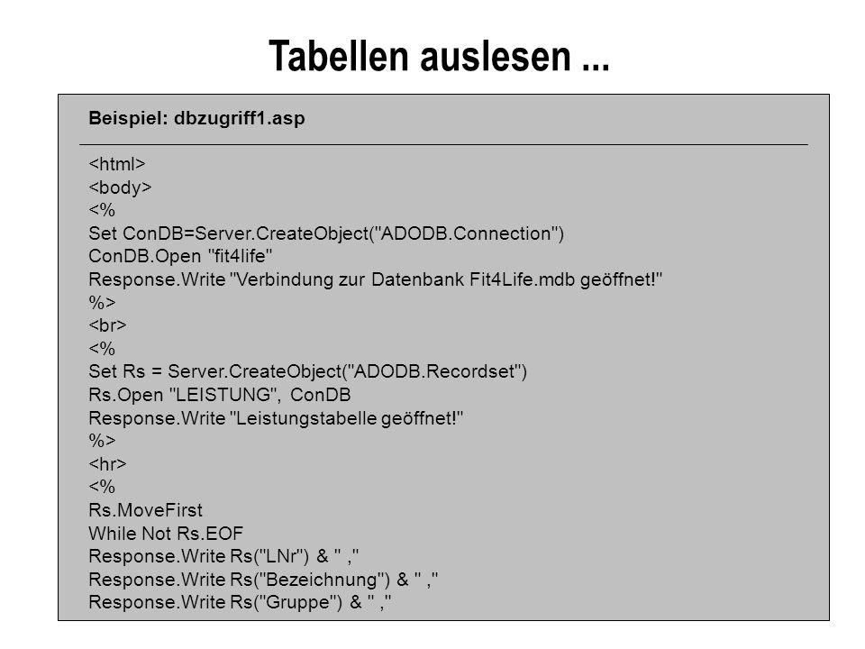 Tabellen auslesen ... Beispiel: dbzugriff1.asp <html>