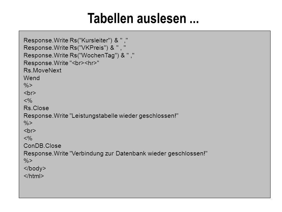 Tabellen auslesen ... Response.Write Rs( Kursleiter ) & ,