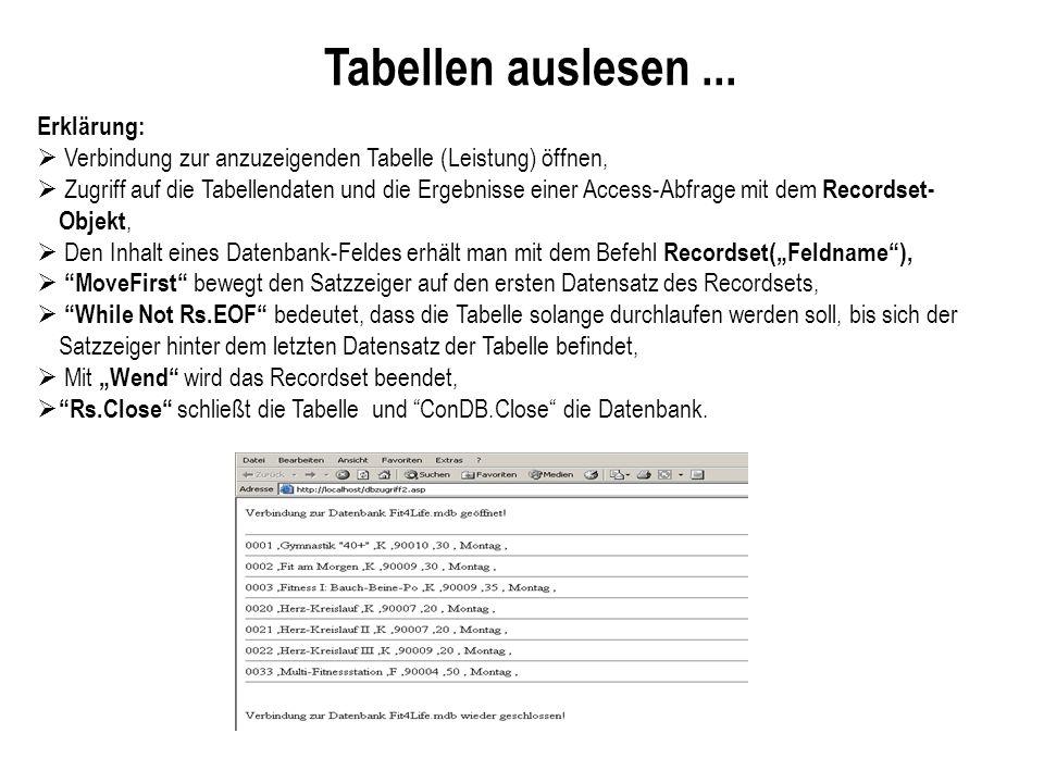 Tabellen auslesen ... Erklärung: