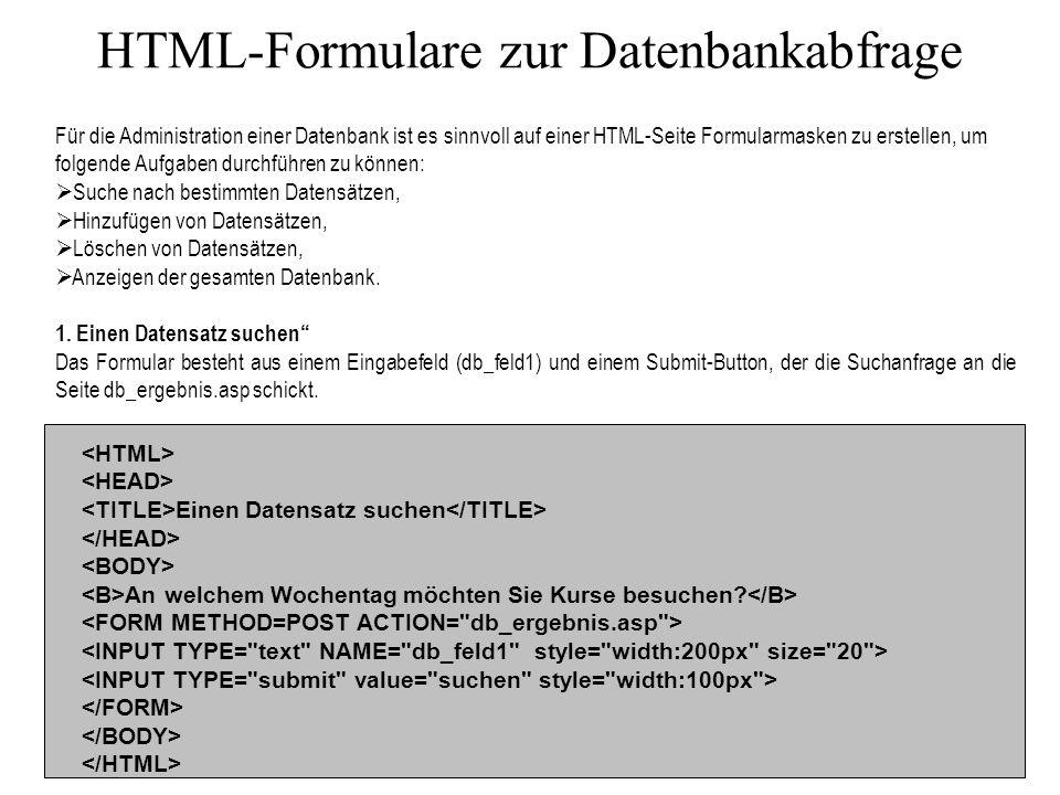 HTML-Formulare zur Datenbankabfrage