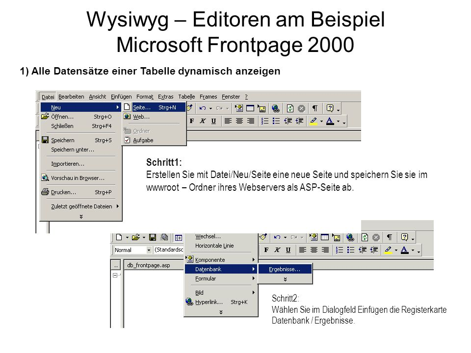 Wysiwyg – Editoren am Beispiel Microsoft Frontpage 2000