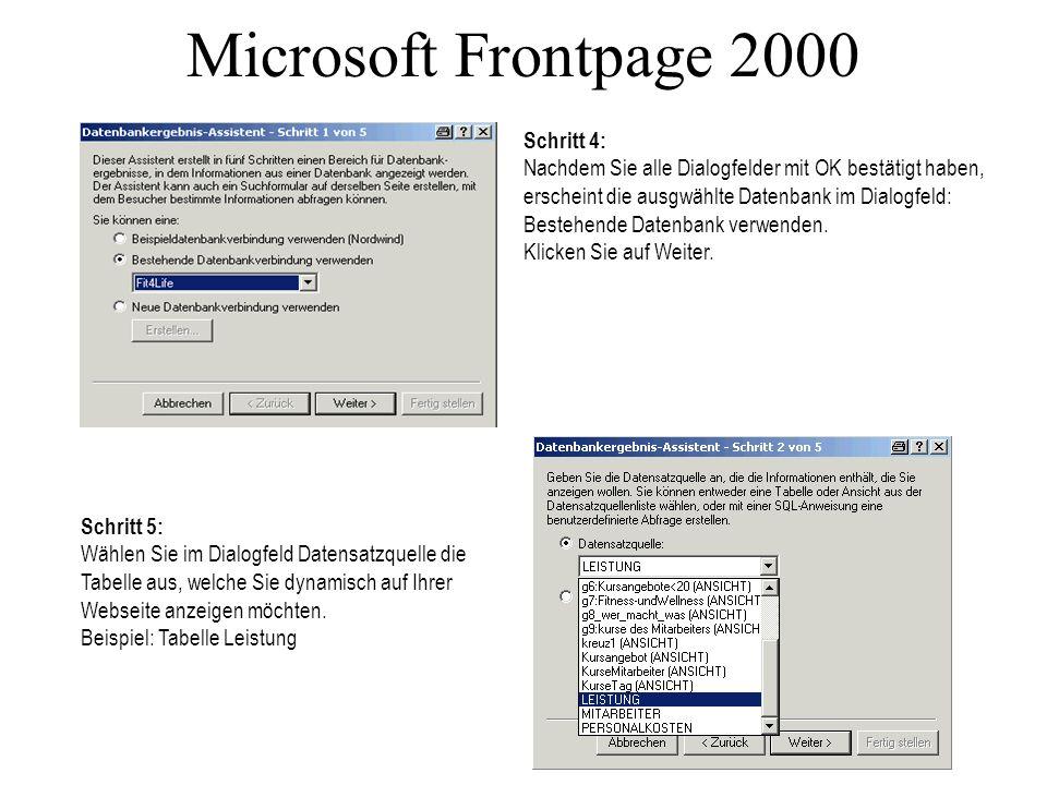 Microsoft Frontpage 2000 Schritt 4: