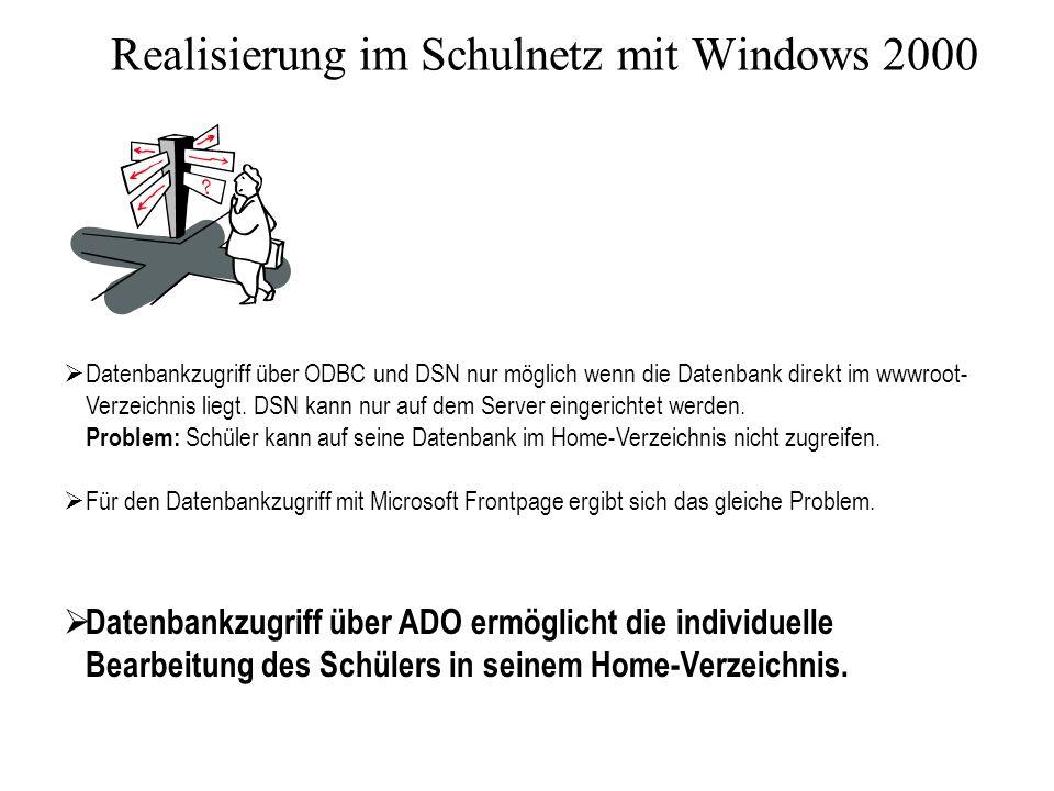 Realisierung im Schulnetz mit Windows 2000