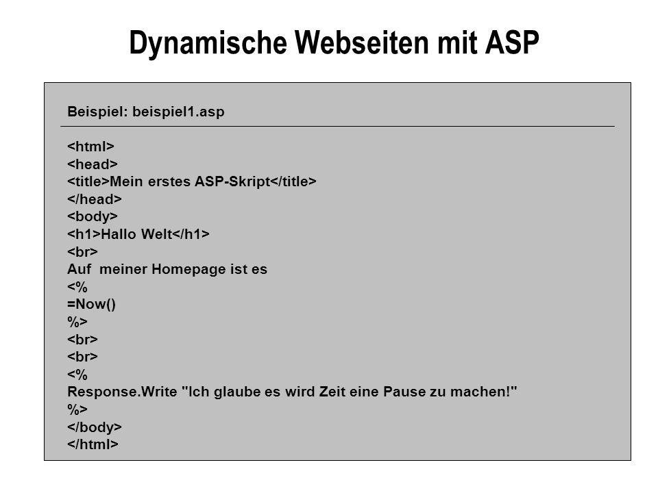 Dynamische Webseiten mit ASP