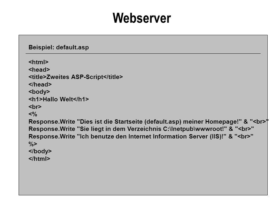 Webserver Beispiel: default.asp <html> <head>