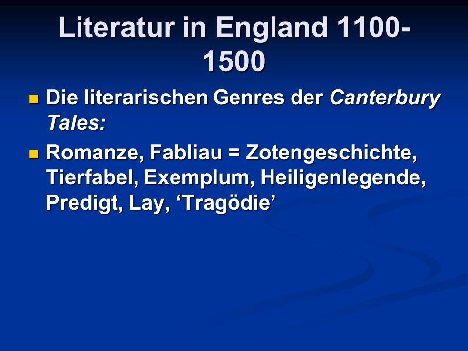 Literatur in England 1100-1500 Die literarischen Genres der Canterbury Tales: