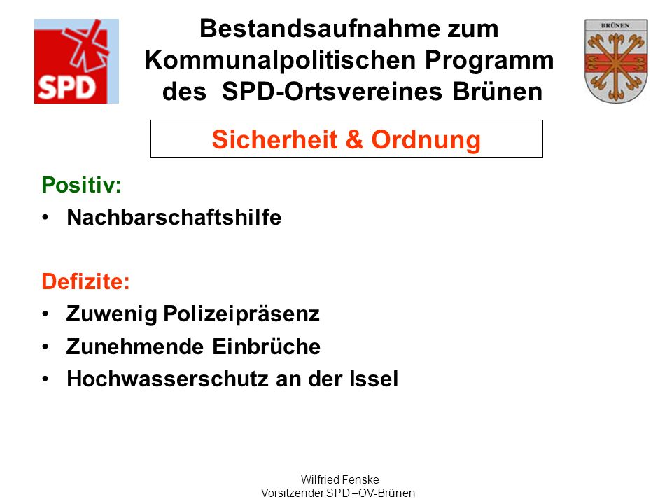 Vorsitzender SPD –OV-Brünen