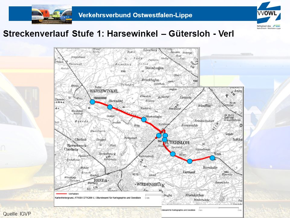 Streckenverlauf Stufe 1: Harsewinkel – Gütersloh - Verl