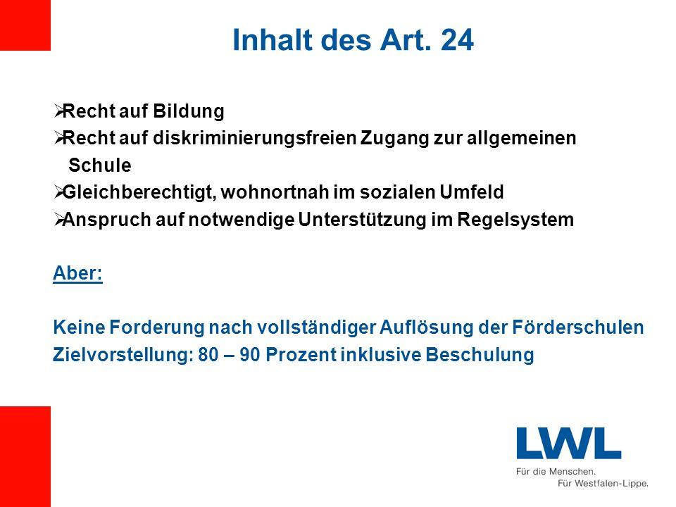 Inhalt des Art. 24 Recht auf Bildung