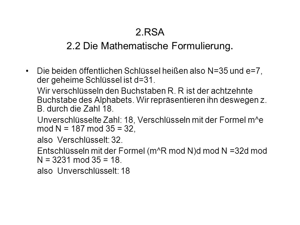 2.RSA 2.2 Die Mathematische Formulierung.