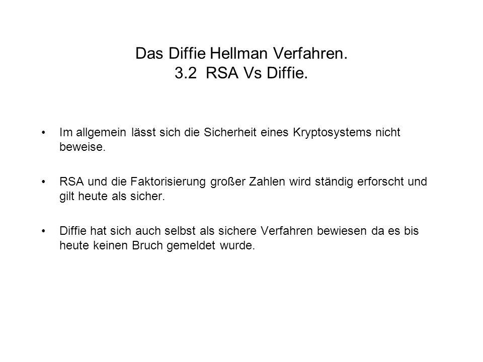 Das Diffie Hellman Verfahren. 3.2 RSA Vs Diffie.