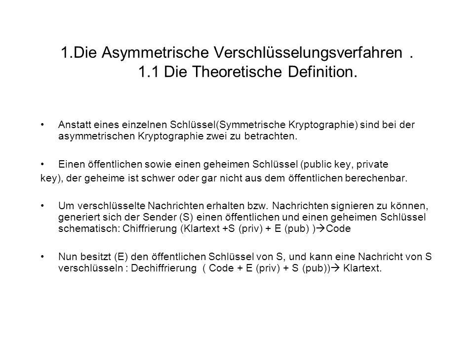 1. Die Asymmetrische Verschlüsselungsverfahren. 1