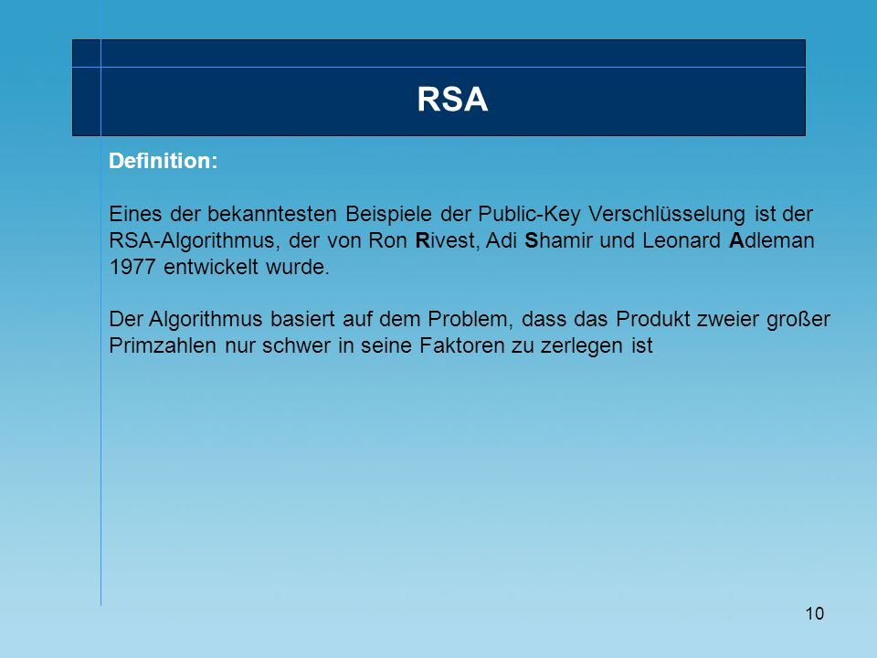 RSA Definition: