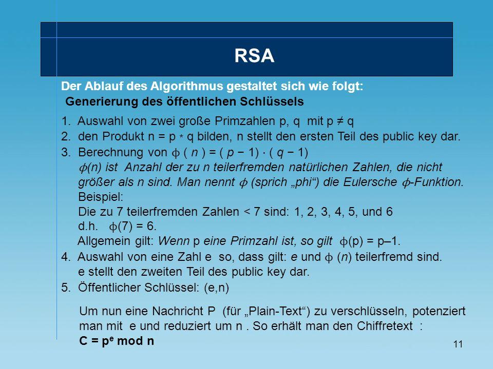 RSA Der Ablauf des Algorithmus gestaltet sich wie folgt: