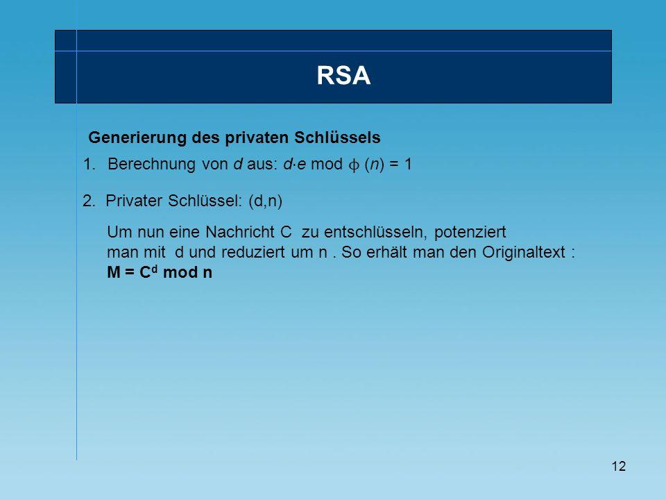 RSA Generierung des privaten Schlüssels