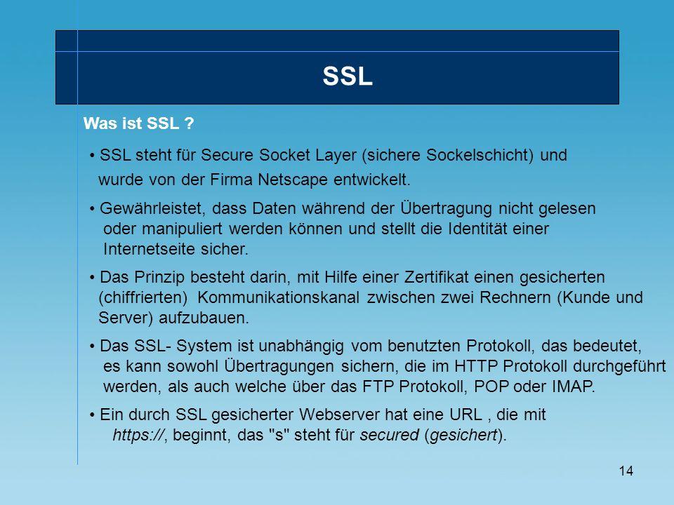 SSL Was ist SSL SSL steht für Secure Socket Layer (sichere Sockelschicht) und. wurde von der Firma Netscape entwickelt.
