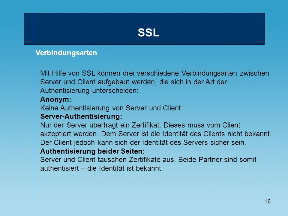 SSL Verbindungsarten.