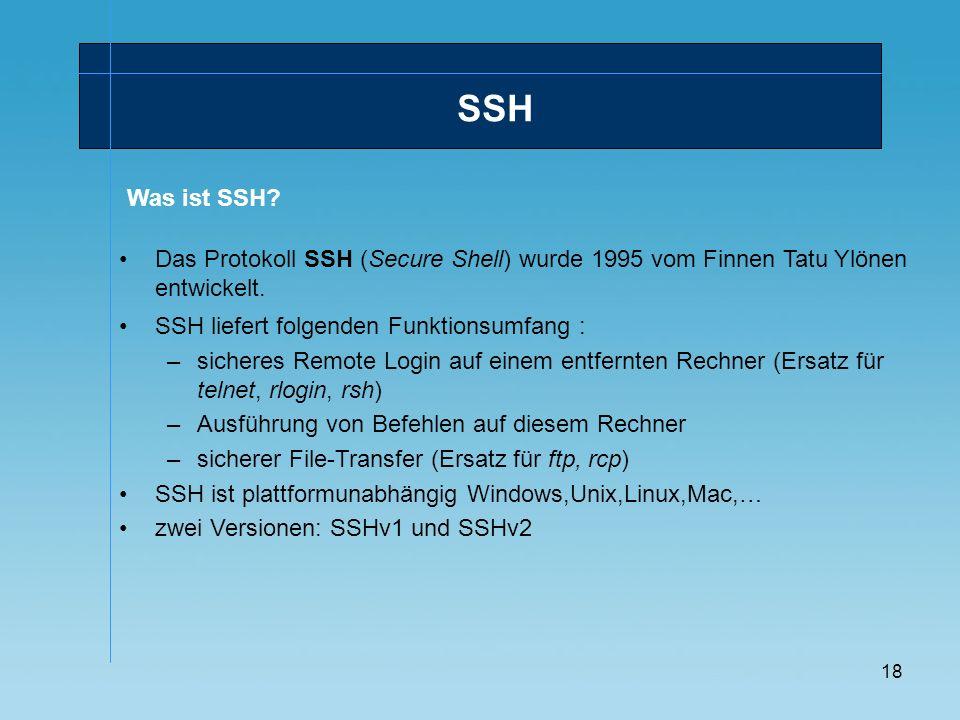 SSH Was ist SSH Das Protokoll SSH (Secure Shell) wurde 1995 vom Finnen Tatu Ylönen entwickelt. SSH liefert folgenden Funktionsumfang :