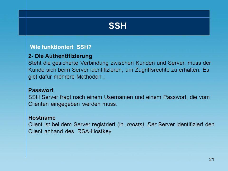 SSH Wie funktioniert SSH 2- Die Authentifizierung