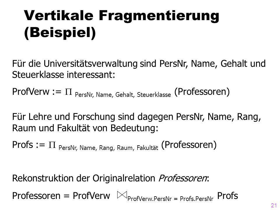 Vertikale Fragmentierung (Beispiel)
