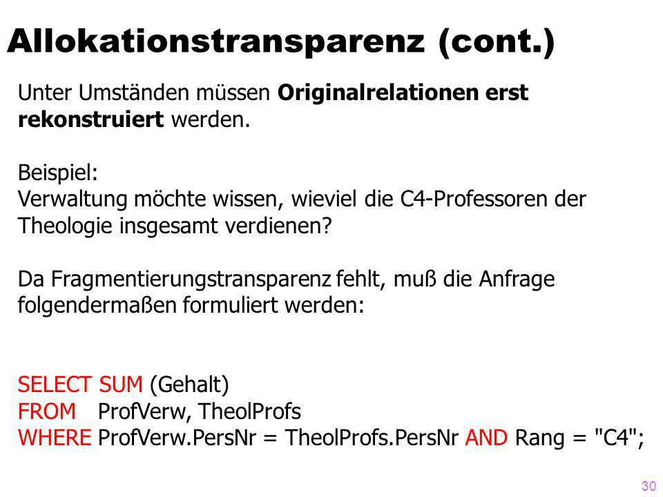 Allokationstransparenz (cont.)