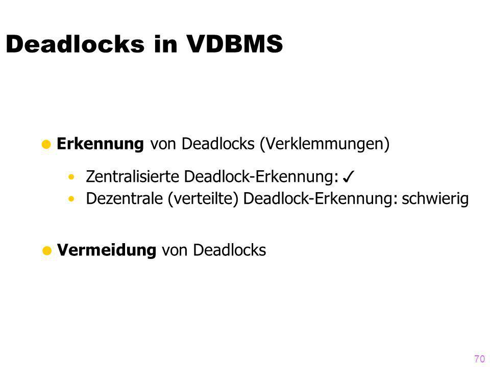 Deadlocks in VDBMS Erkennung von Deadlocks (Verklemmungen)