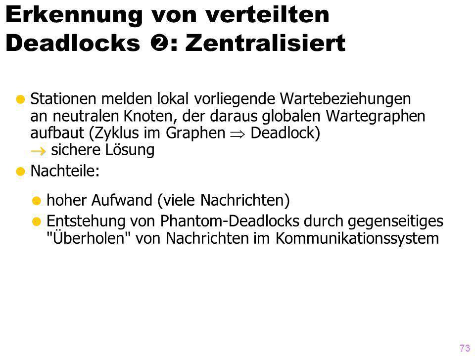 Erkennung von verteilten Deadlocks : Zentralisiert