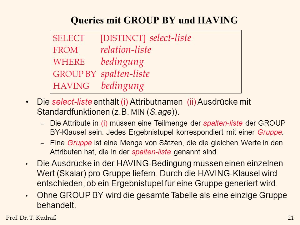 Queries mit GROUP BY und HAVING