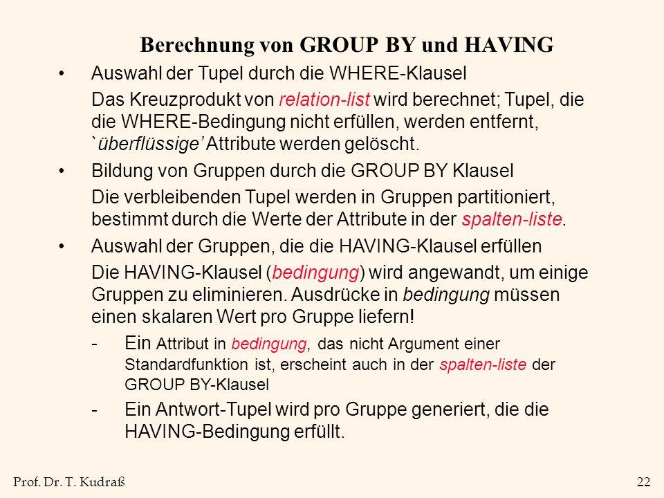 Berechnung von GROUP BY und HAVING