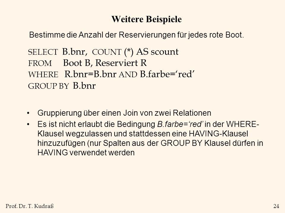 Weitere Beispiele Bestimme die Anzahl der Reservierungen für jedes rote Boot. SELECT B.bnr, COUNT (*) AS scount.