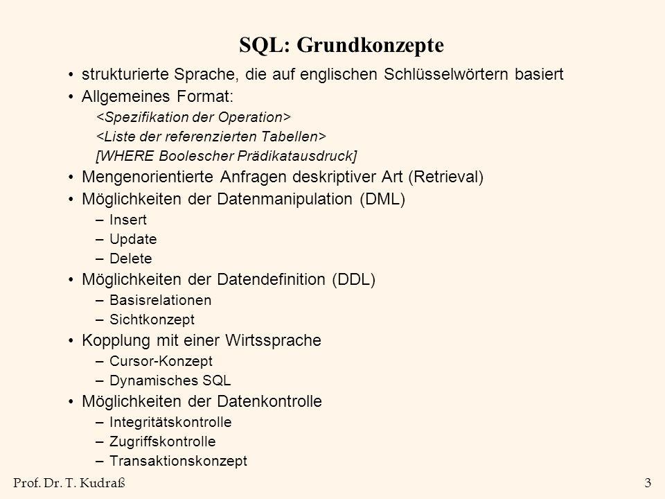 SQL: Grundkonzepte strukturierte Sprache, die auf englischen Schlüsselwörtern basiert. Allgemeines Format: