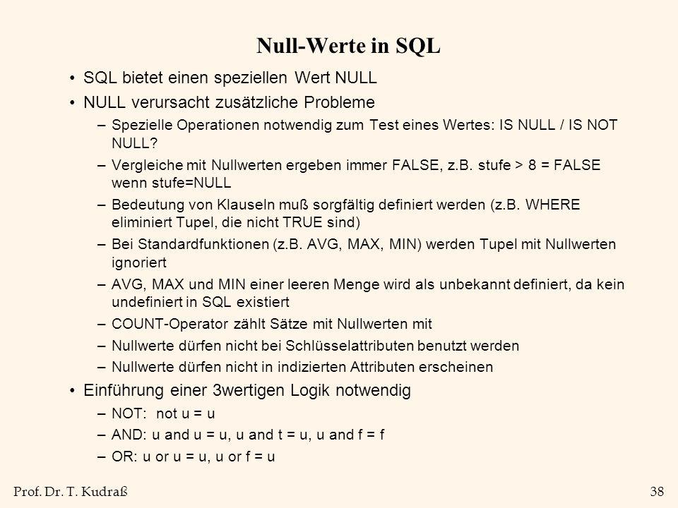 Null-Werte in SQL SQL bietet einen speziellen Wert NULL
