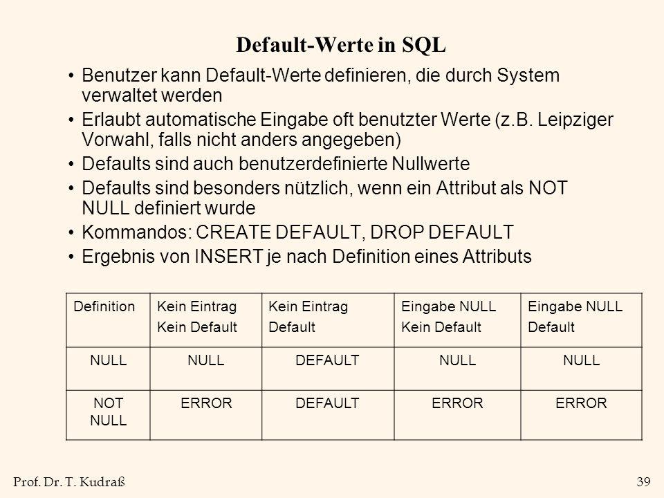 Default-Werte in SQL Benutzer kann Default-Werte definieren, die durch System verwaltet werden.