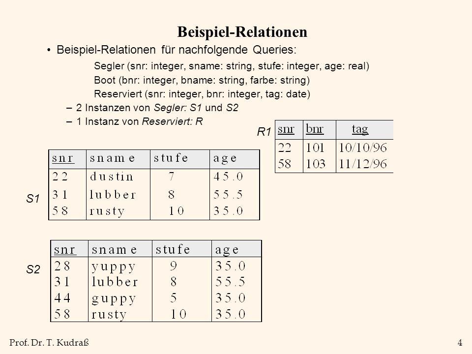Beispiel-Relationen Beispiel-Relationen für nachfolgende Queries: