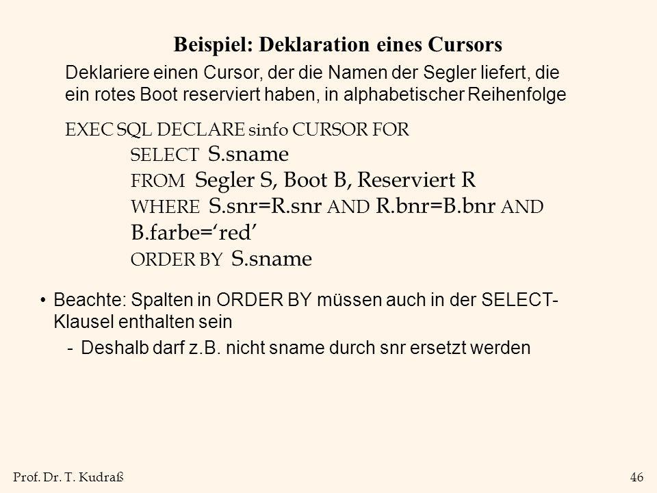 Beispiel: Deklaration eines Cursors