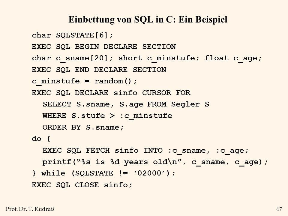 Einbettung von SQL in C: Ein Beispiel