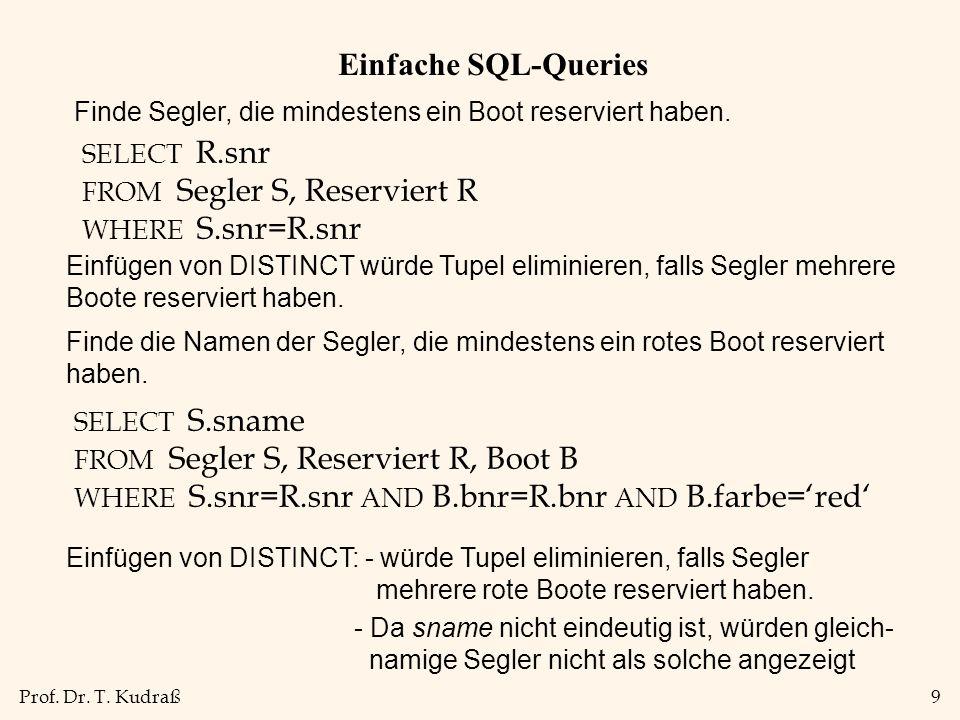 Einfache SQL-Queries Finde Segler, die mindestens ein Boot reserviert haben. SELECT R.snr. FROM Segler S, Reserviert R.