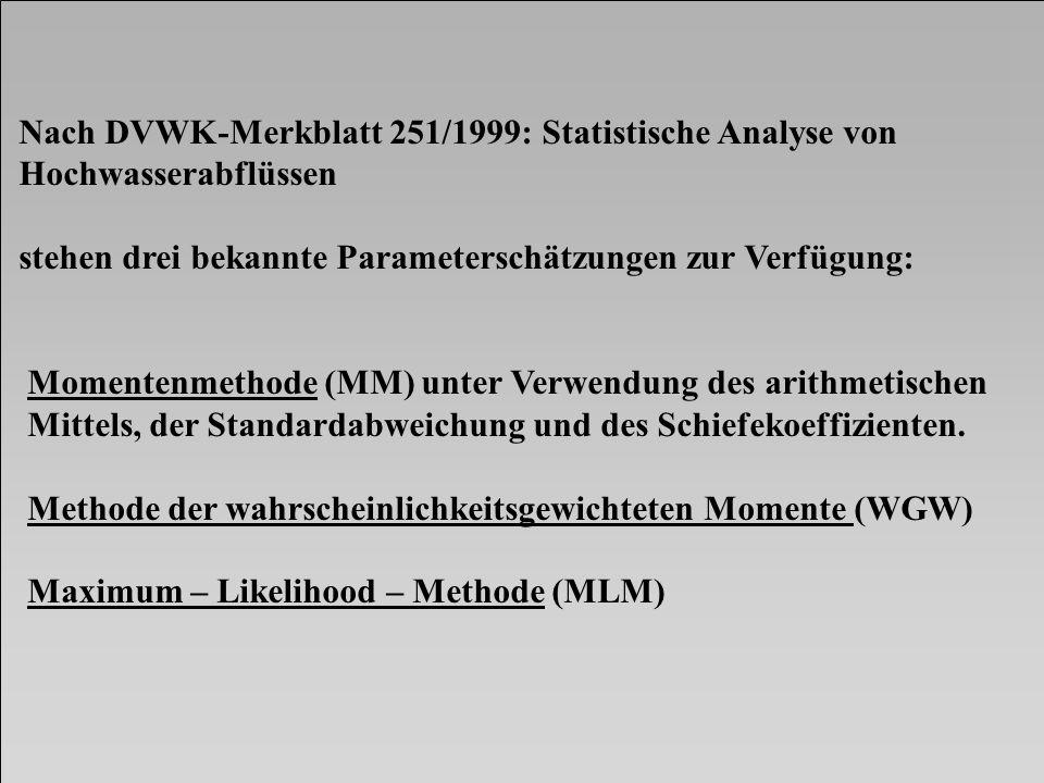 Nach DVWK-Merkblatt 251/1999: Statistische Analyse von