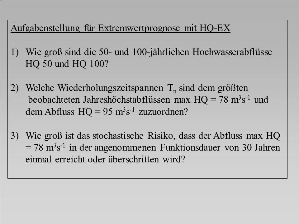 Aufgabenstellung für Extremwertprognose mit HQ-EX