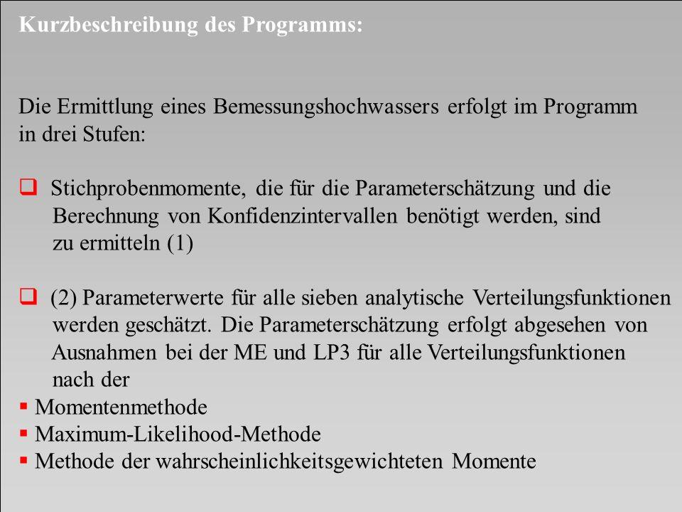 Kurzbeschreibung des Programms: