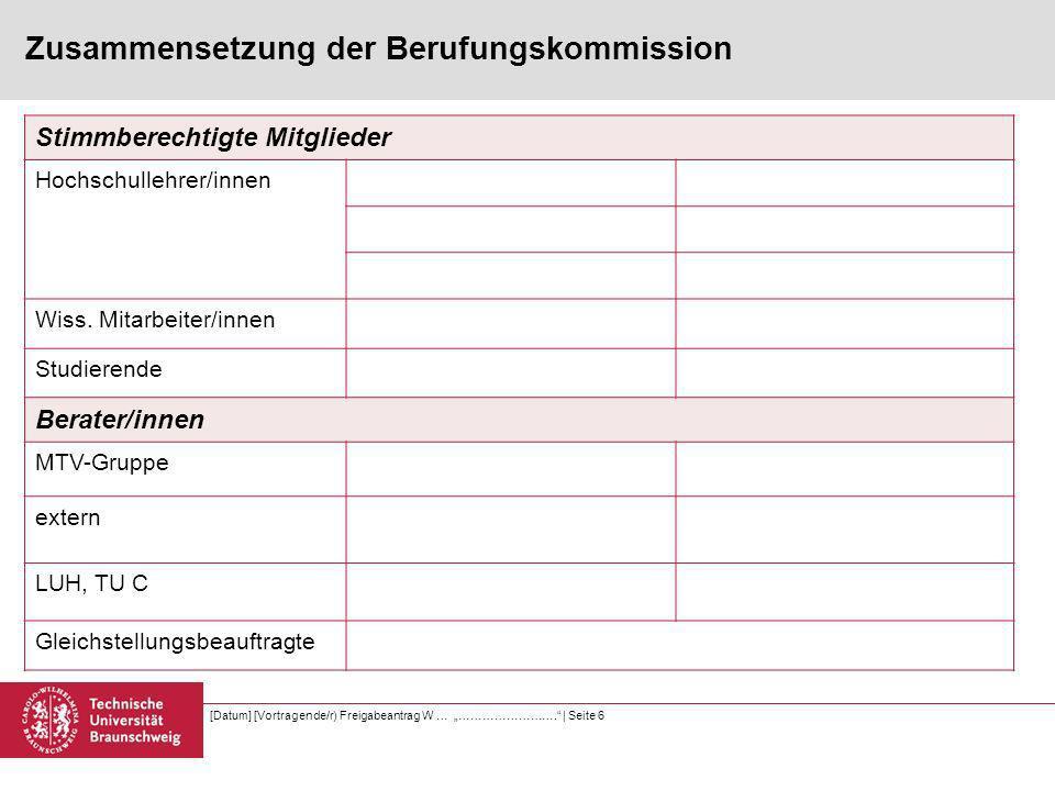 Zusammensetzung der Berufungskommission