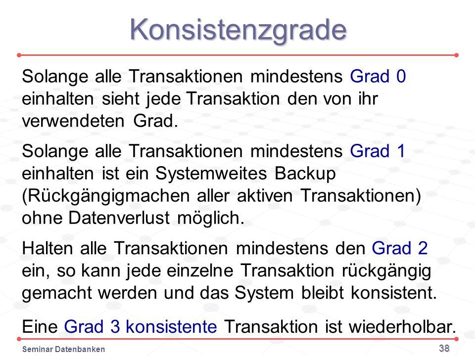 KonsistenzgradeSolange alle Transaktionen mindestens Grad 0 einhalten sieht jede Transaktion den von ihr verwendeten Grad.