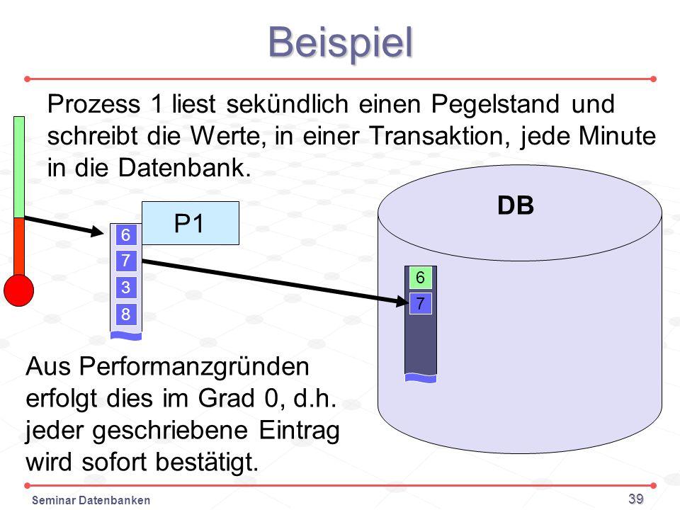 BeispielProzess 1 liest sekündlich einen Pegelstand und schreibt die Werte, in einer Transaktion, jede Minute in die Datenbank.